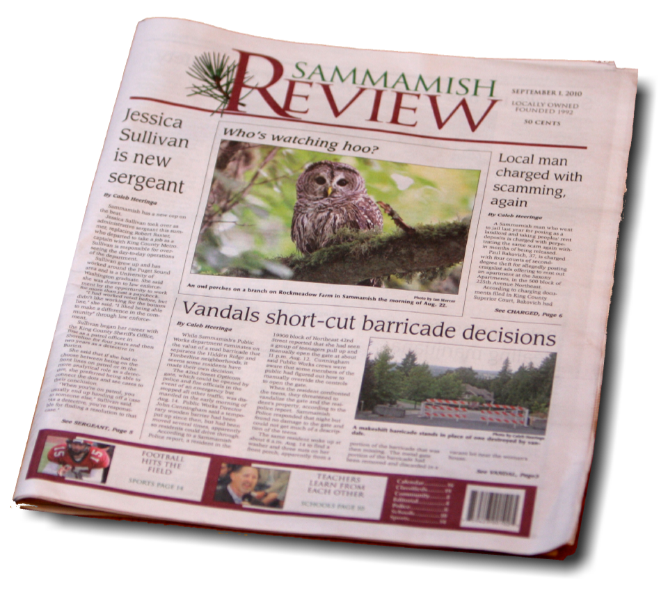 Cover Image for Sammamish Review featured one of my owl photos